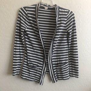 J. Crew striped pocket cardigan size small gray